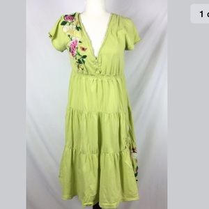 Johnny Was Los Angeles Dress L green Embroidered